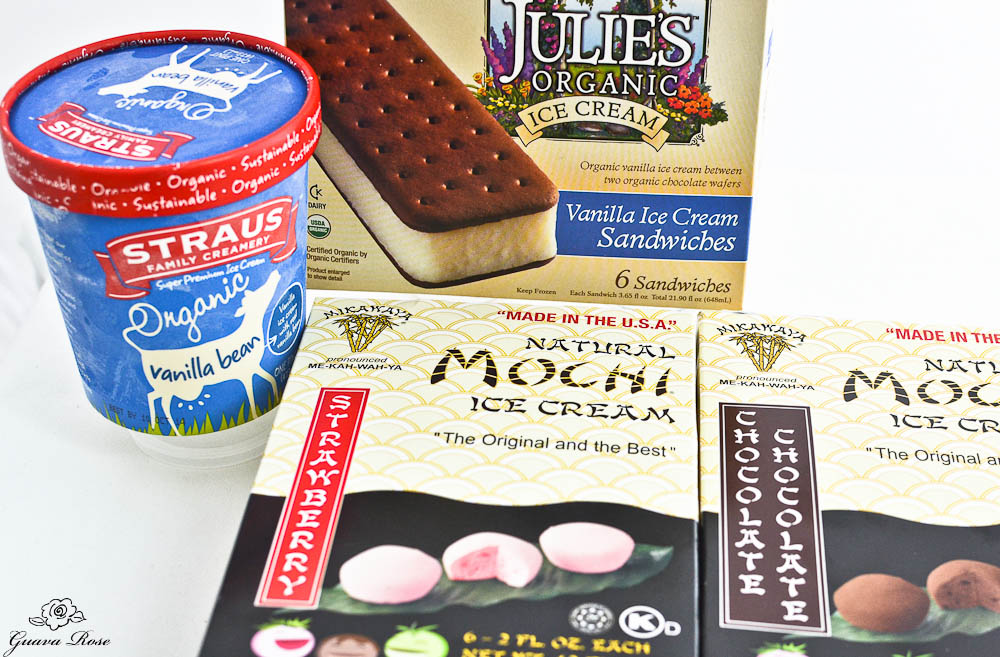 Vanilla ice cream, ice cream sandwiches, mochi ice cream