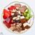 Cran-Raspberry kitchen sink slushie w/ strawberries, kiwi,gels,brownie bites, ice cream sandwich bites, wafer cookies, toffee, almonds