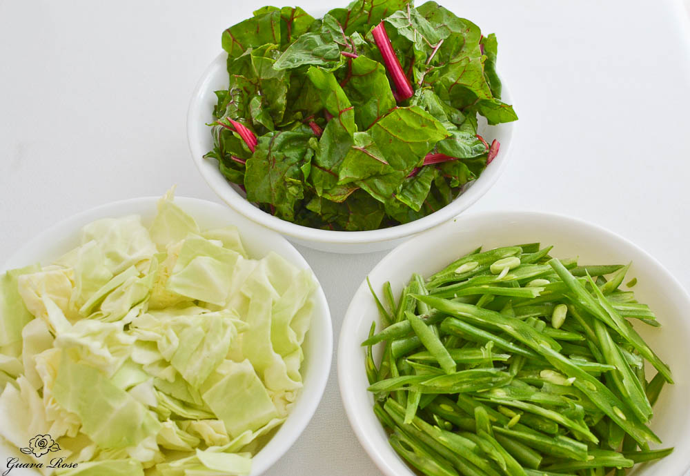 Cut cabbage, swiss chard and green beans