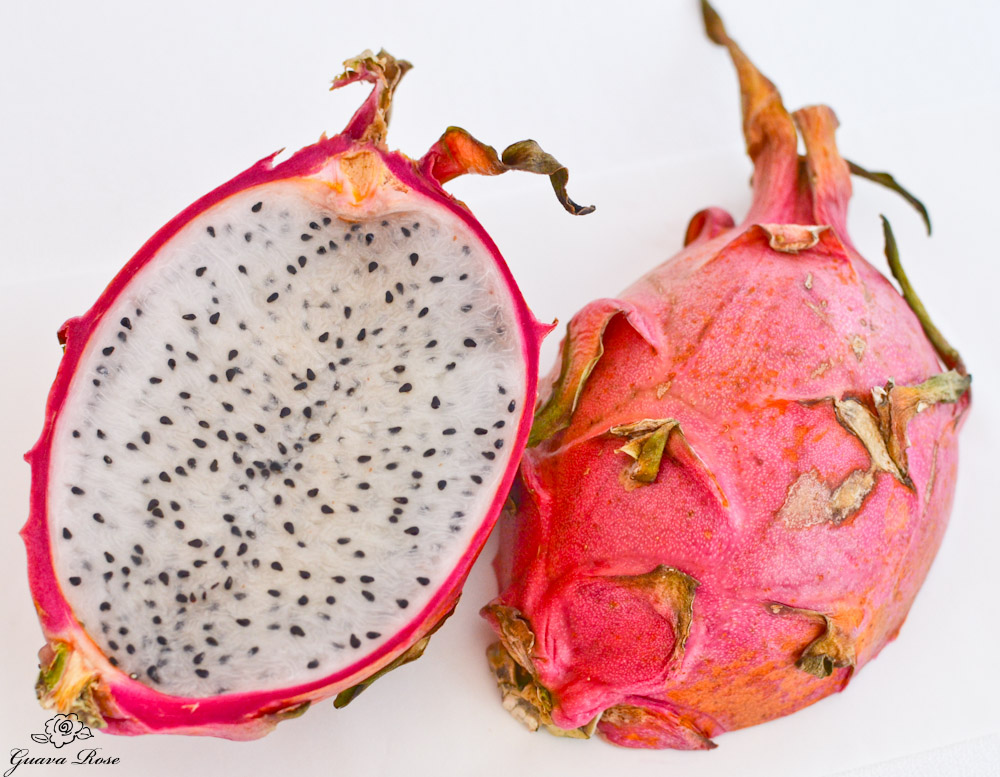 Dragonfruit, white flesh, cut in half