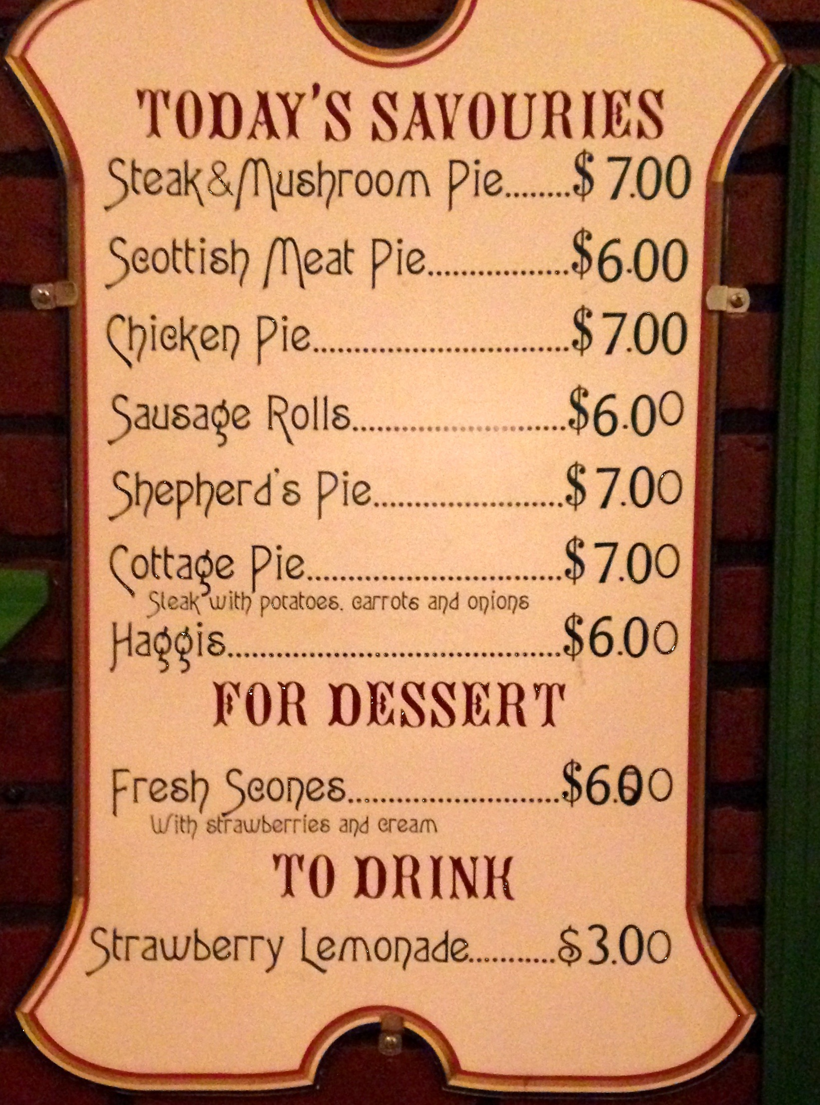 Meat Pie Shop Menu