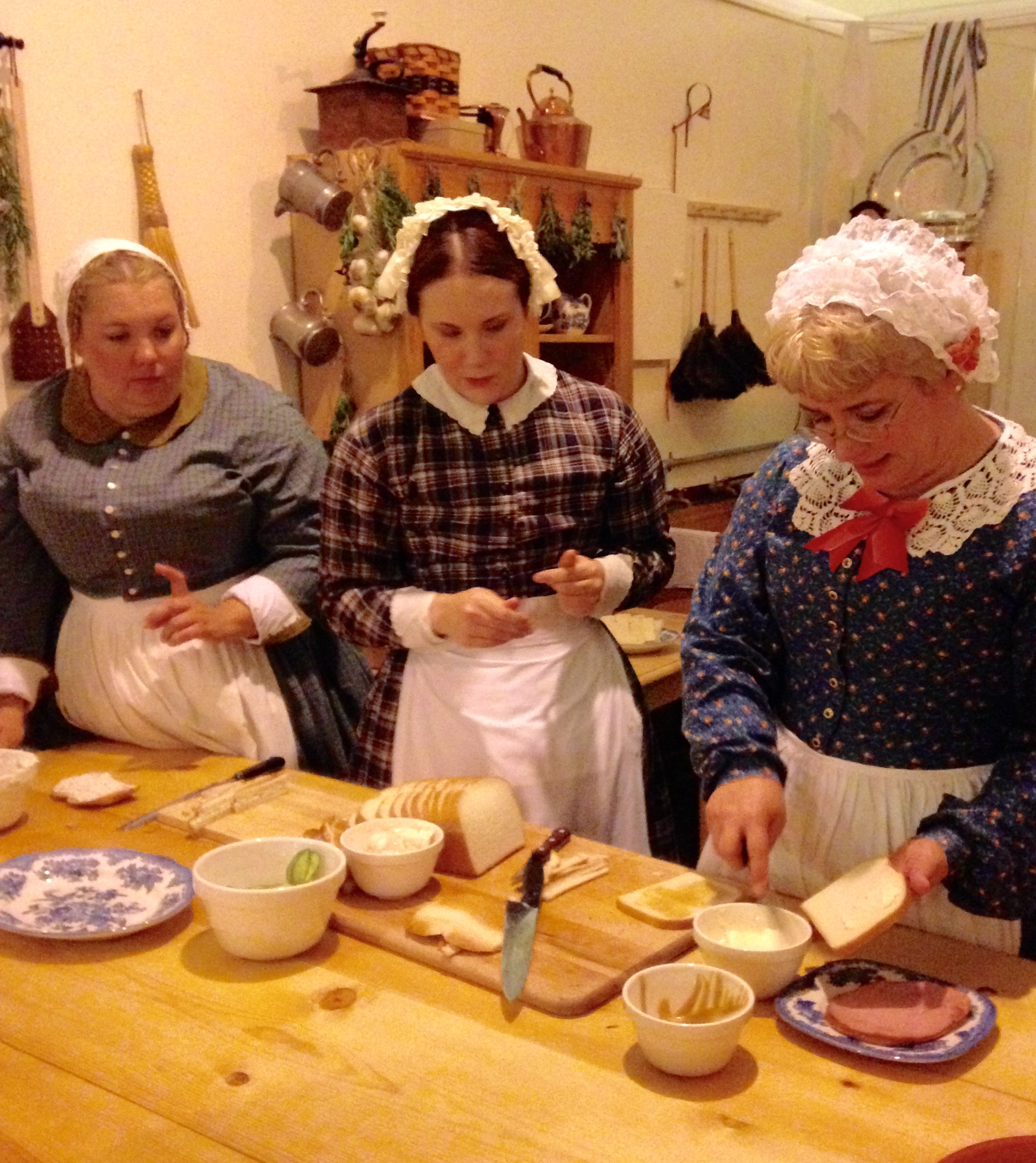 Making tea sandwiches in Dicken's kitchen
