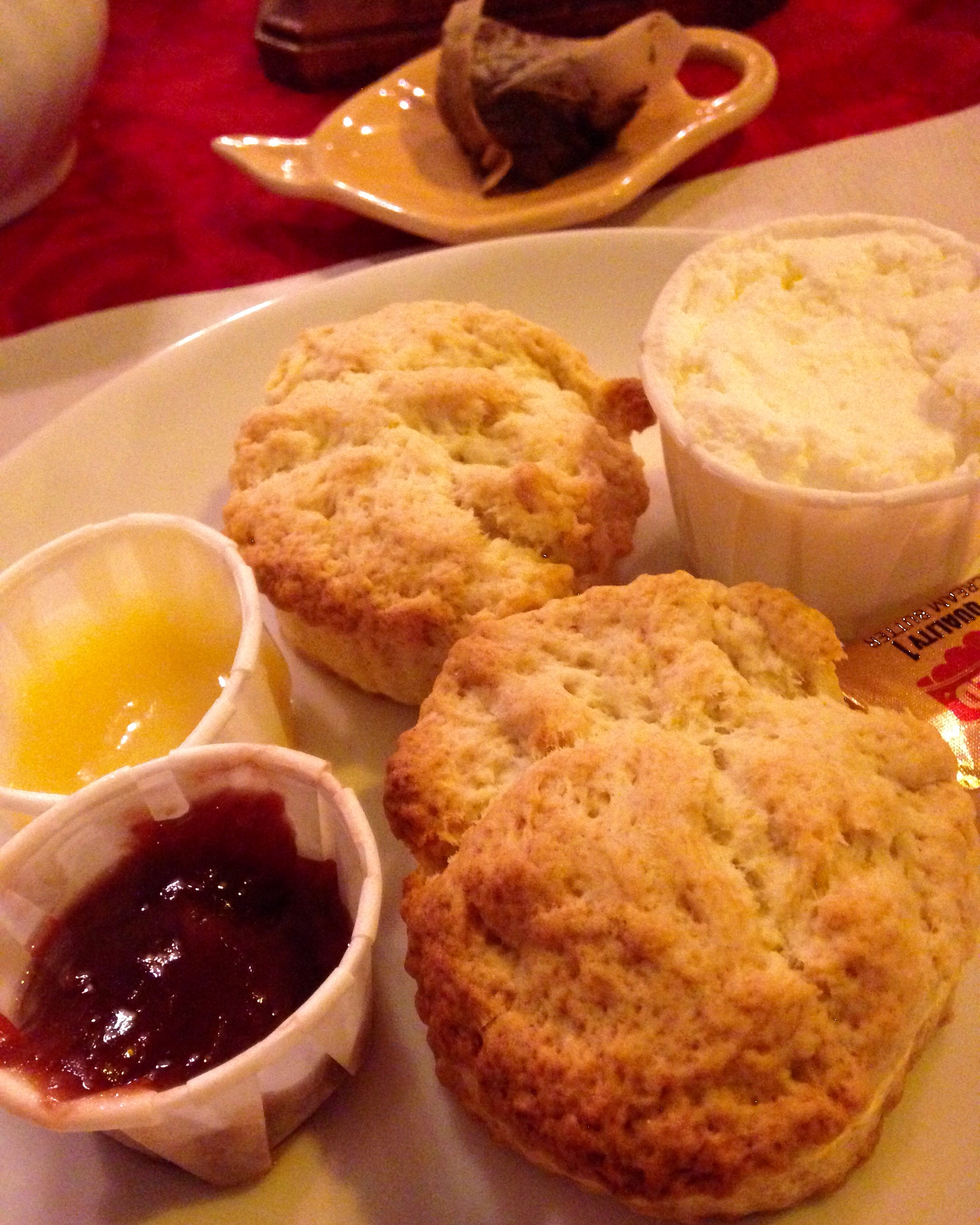 Scones, lemon curd, strawberry jam--Cuthbert's Tea Shoppe