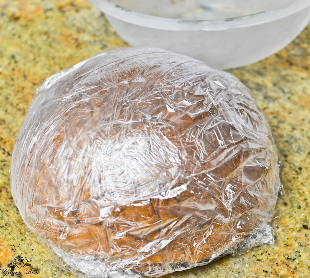 Hawaiian Sweet Bread Ice Cream Bombe,  frozen, in plastic wrap