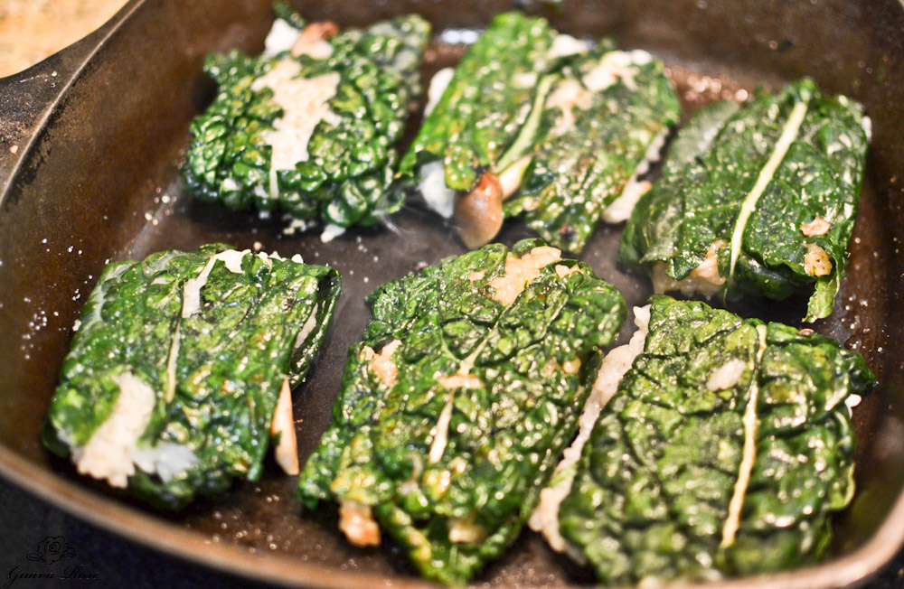 Kale sticky rice dumplings in cast iron pan