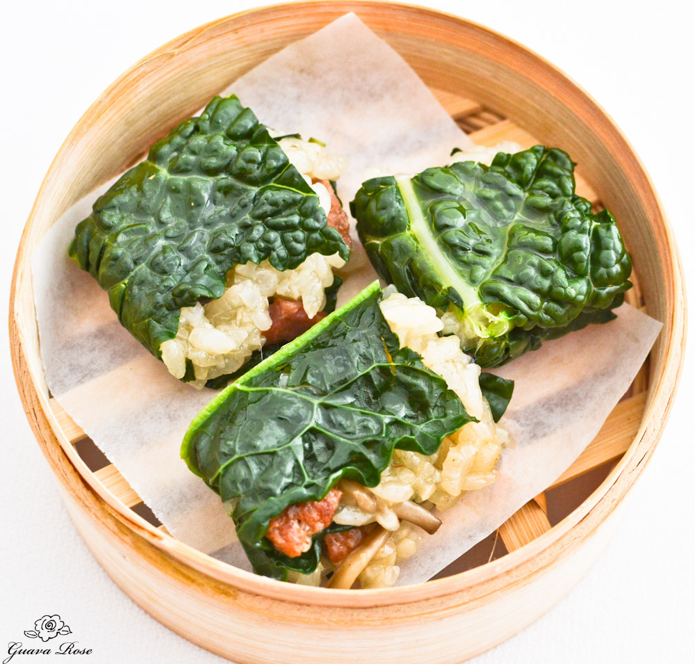 Steamed kale sticky rice dumplings, top view