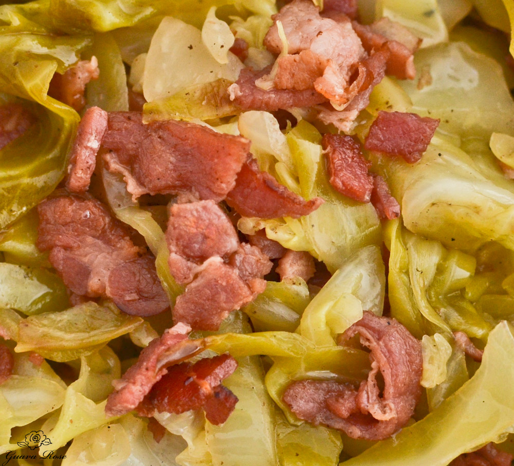 Sweet and Sour Cabbage with Bacon close up