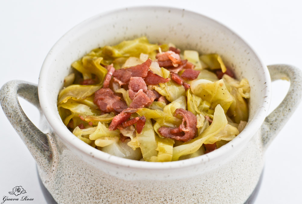 Pot of Sweet and Sour Cabbage with Bacon, close up