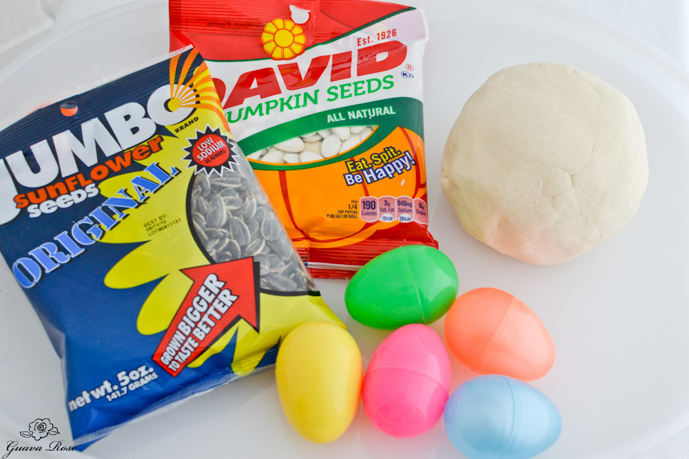 Seeds, salt dough, plastic eggs