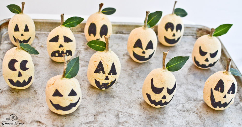 Pumpkin seed filled Jack-o-lanterns on tray
