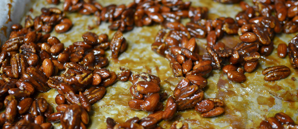 Honey Caramel nuts cooling
