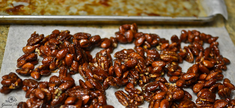Honey Caramel nuts on parchment