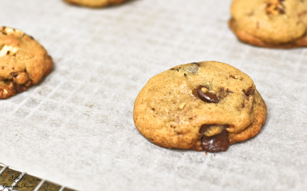 Chewy chocolate chip cookies just baked