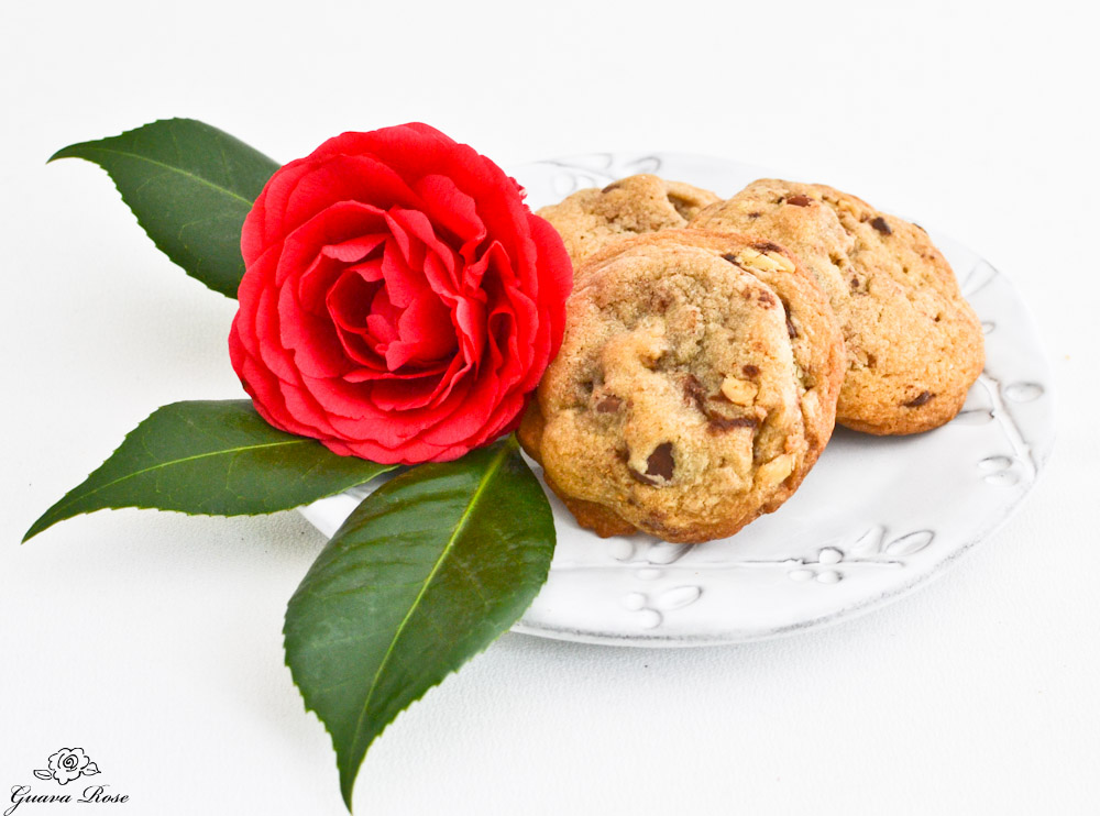 Chewy chocolate chip cookies with Camellia