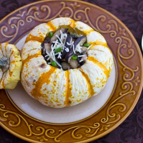 Tiger Mini Pumpkins filled with Pearl Couscous and Sauteed Mushrooms
