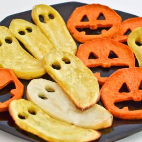 Roasted Sweet Potato Jack-o-Lantern Faces and Ghosts
