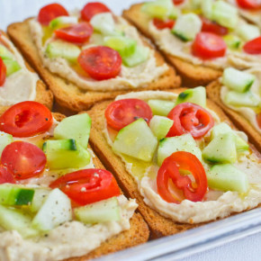 Quick Hummus and Vegetable Toasts