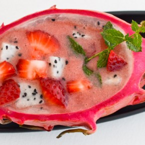 Strawberry Vanilla Dragonfruit Soup (Cold)